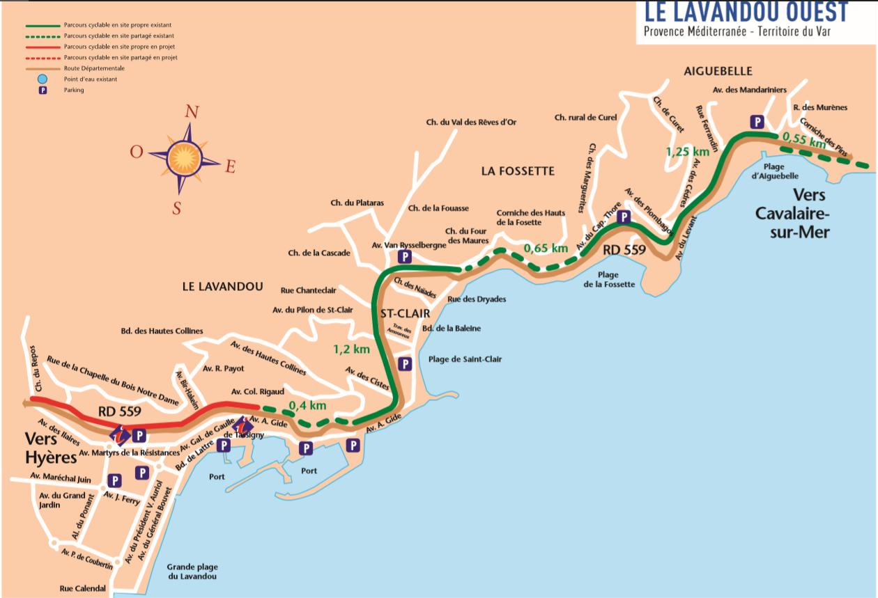 Plan vélo Lavandou ouest
