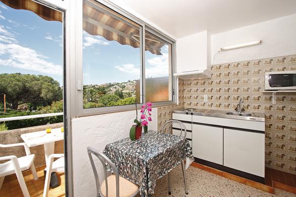 Cuisine, séjour et terrasse de la location